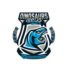 logo emblem dinosaur jurassic period vector image