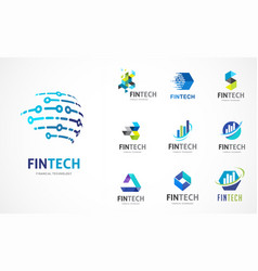 Logo set - fintech blockchain technology vector