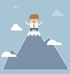 Man stuck on the top of mountain stock market con vector