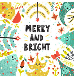 merry and bright card with cute christmas trees vector image