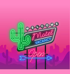 motel is a light billboard neon signboard vector image