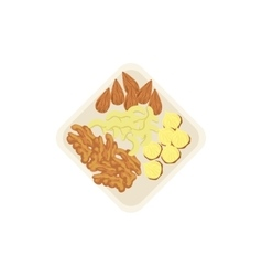 Nuts lying on the plate a handful of mixed nuts vector image