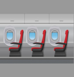 Passenger airplane red interior aircraft vector