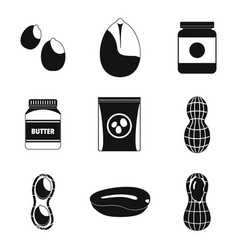 Peanut nuts butter jar icons set simple style vector