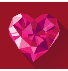 Polygonal red heart flat Valentine day card vector