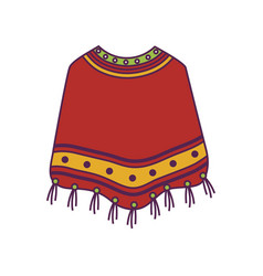 Poncho clothes mexican isolated icon vector