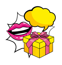 Pop art gift box cartoon vector
