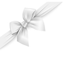 realistic white ribbon with bow on white vector image