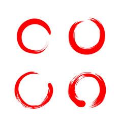 Red circle zen sumi-e watercolor logo sign vector