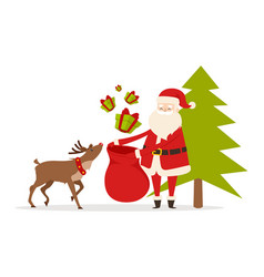 Reindeer helps santa to prepare christmas gifts vector