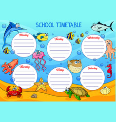 school timetable schedule with underwater animals vector image