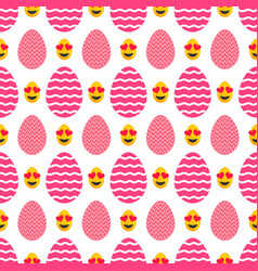 Seamless pattern of pink easter eggs with heart vector