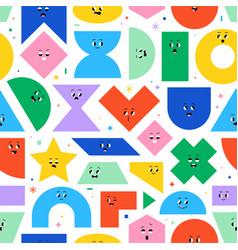 seamless pattern with cute cartoon geometric vector image