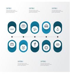 Season icons line style set with conch umbrella vector