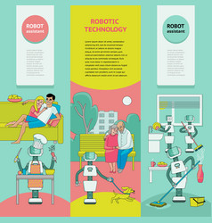 set of banners - robots free people from housework vector image