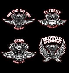 set of biker emblem templates with winged vector image