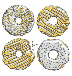 Set of silver donuts with a gold cream vector