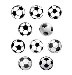 Set of soccer and football balls vector image