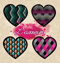 set valentine hearts vector image