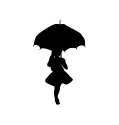 Silhouette girl holding umbrella in hands vector