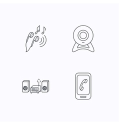 Smartphone web camera and headphones icons vector image