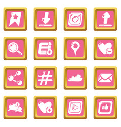 social network icons set pink square vector image