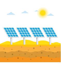 Solar panels in desert vector