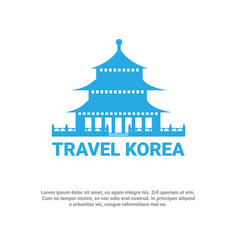 South korean palace icon travel to korea poster vector