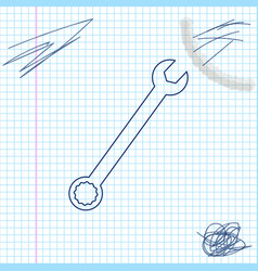 spanner line sketch icon isolated on white vector image