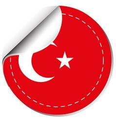 Sticker design for flag of turkey vector