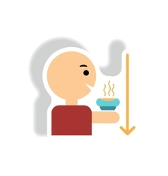 stylish icon in paper sticker style man drinking vector image