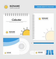 sun logo calendar template cd cover diary and usb vector image