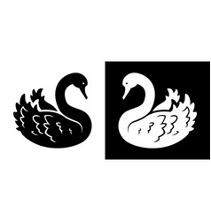swan black and white silhouette vector image
