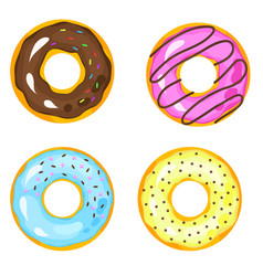 sweets donuts sugar glazed fries pastry doughnut vector image