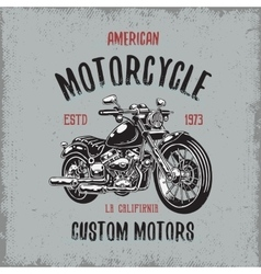 T-shirt print with hand drawn motorcycle vector