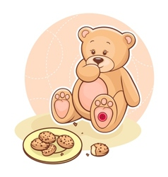 Teddy Beareating cookies vector image