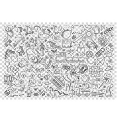 toys doodle set vector image