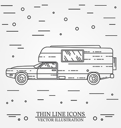 Traveler truck camper thin line Camping RV trailer vector image