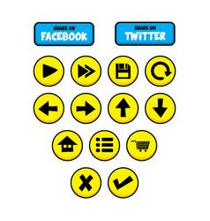 Video game asset menu icon button layer art set vector