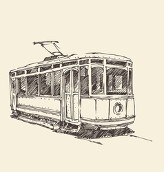vintage tram engraved hand drawn vector image