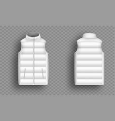 White winter puffer vest sleeveless jacket mockup vector