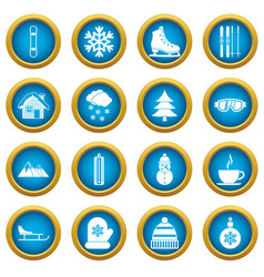 winter icons blue circle set vector image