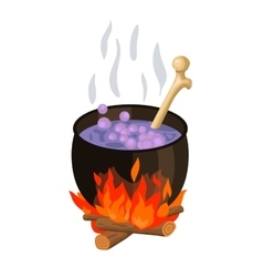 Witch cauldron cartoon vector