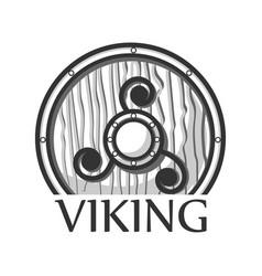 wooden viking shield vector image