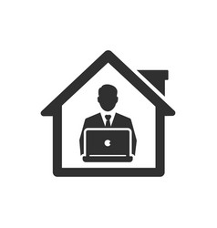 Work from home icon business man remote works vector