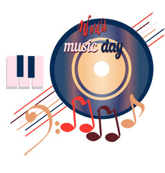 World music day disc sounds planet of global vector