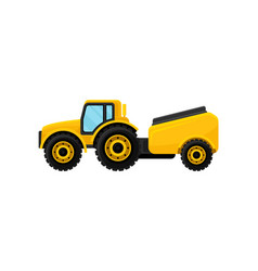 Yellow tractor with tank for water agricultural vector