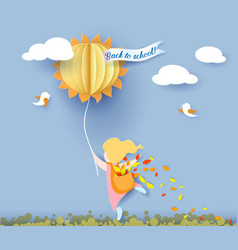 back to school card with girl leaves and sun vector image vector image