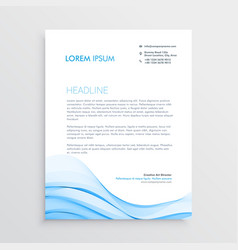 blue letterhead design in wave style vector image vector image