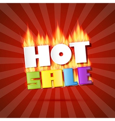 Colorful Hot Sale Title in Flames on Red Retro vector image
